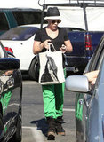 Pink sported bright green sweatpants in Malibu.