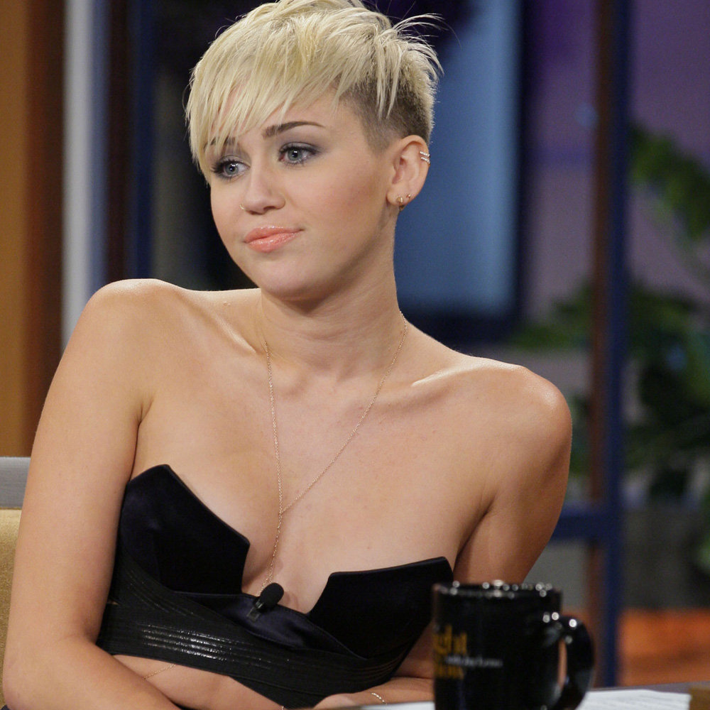 Miley Cyrus showed off her haircut on The Tonight Show.