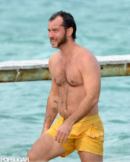 Jude Law Squeezes In Shirtless Time During a Break From Moviemaking