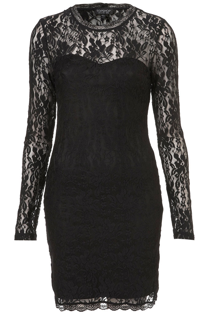 This black Topshop Lace High Neck Bodycon Dress ($72) is perfect for styling up with metallic heels for a night out or cozy tights and burgundy ankle boots for a more subdued look.