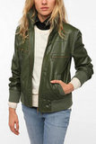 We love the sleek olive green shade of BDG's Faux Leather Bomber Jacket ($99) — plus, the price is totally right.