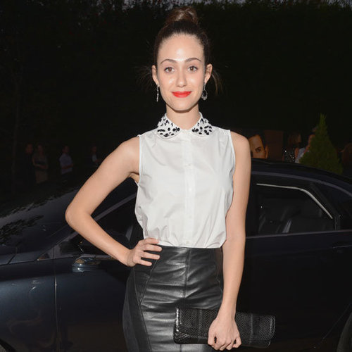 Emmy Rossum Wearing Black Leather Skirt