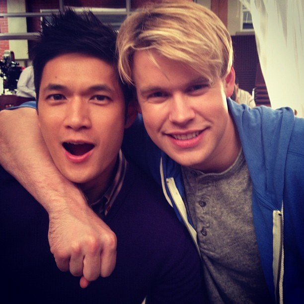 Glee-mates Harry Shum Jr. and Chord Overstreet smiled for the camera. Source: Instagram user chordover