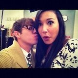 Kevin McHale gave his costar Naya Rivera a peck. Source: Instagram user kevinmchale
