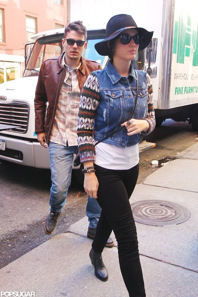 Katy Perry and John Mayer headed to a restaurant.