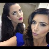 Khloe and Kim Kardashian pouted for the camera. Source: Instagram user khloekardashian