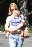 January Jones held tight to baby Xander Jones after they grabbed lunch.