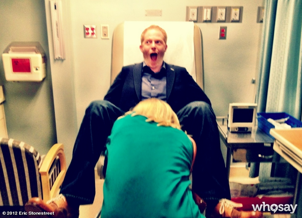 Jesse Tyler Ferguson seized a somewhat disturbing photo opportunity on the set of Modern Family. Source: Eric Stonestreet on WhoSay
