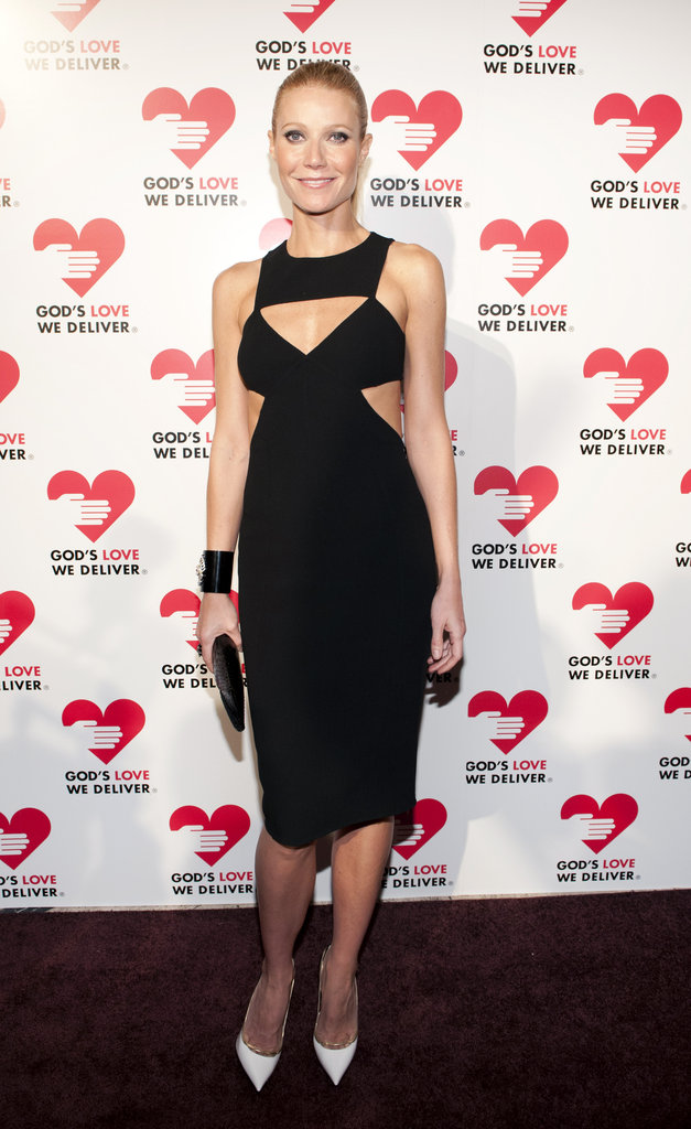 Gwyneth Paltrow dared to bare a little extra skin at the 2012 Golden Heart Awards by way of some strategic Michael Kors Spring '13 LBD cutouts. To complete the look, she wore a thick black cuff and contrasted it with slick white pumps.