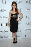Anna Kendrick worked a sultry vibe with a black, bustier-style sheath adorned with gold embroidery.