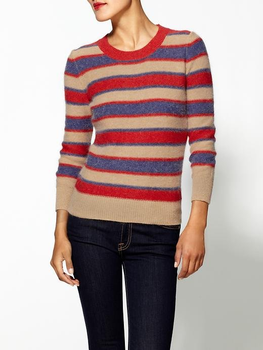 Both the autumnal palette and vintage stripe layout of this THML crew pullover ($55, originally $69) makes us think of old-school rowing clubs and academia chic.