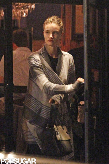 Rosie Huntington-Whiteley left the restaurant.
