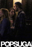 Kristen Stewart and Robert Pattinson talked outside Ye Olde Rustic Inn bar.