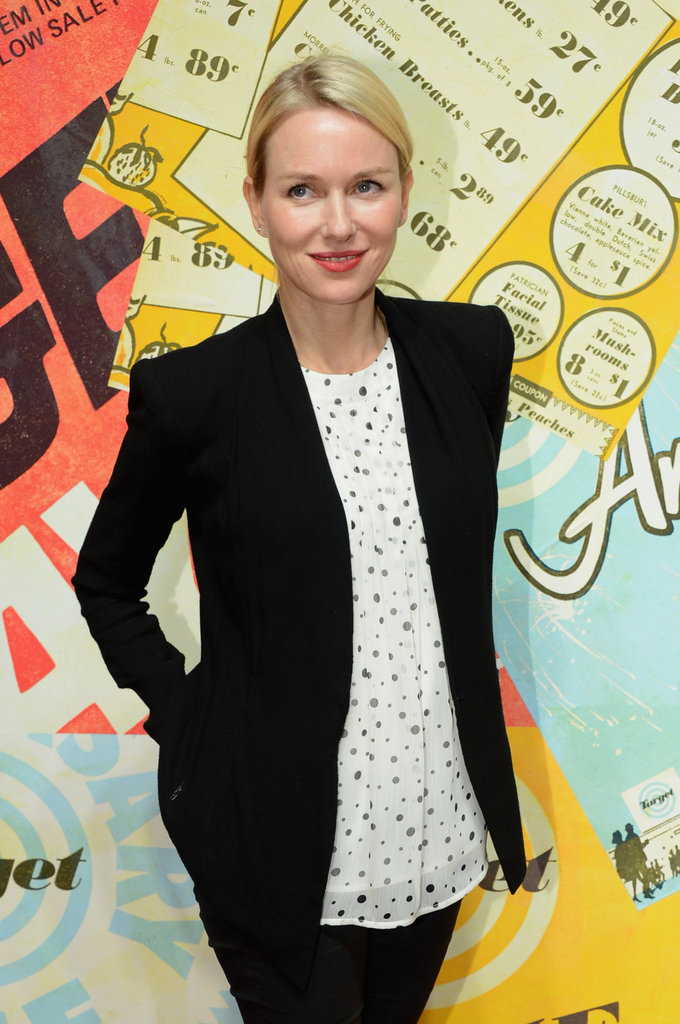 Naomi Watts wore a printed shirt to celebrate Target's 50th anniversary.