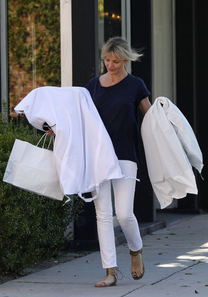 Cameron Diaz had her hands full after shopping in California.
