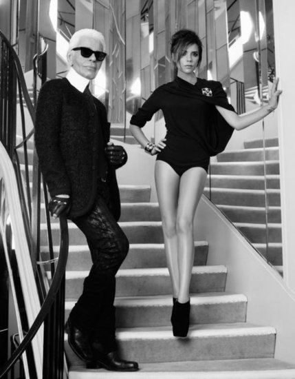 Victoria Beckham and Karl Lagerfeld on set of their shoot for Elle France. Source: Twitter user victoriabeckham