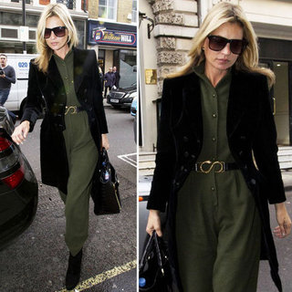 Kate Moss in a Green Jumpsuit October 2012