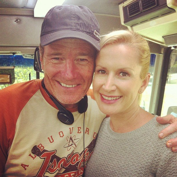 Angela Kinsey hung out with her director-of-the-day, Bryan Cranston. Source: Instagram user angekinz