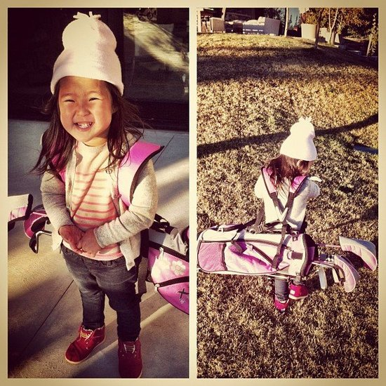 Naleigh Kelley caddied her own golf clubs during an outing with her dad. Source: Instagram user joshbkelley