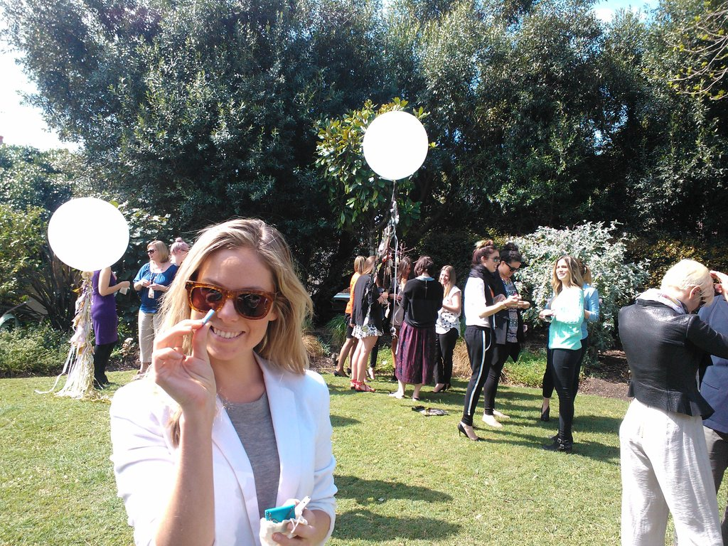 Ali finds a lucky charm at the OPSM Summer garden party.