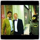 Jesse Tyler Ferguson and his fiancé, Justin Mikita, were photobombed by Batman. Source: Instagram user jessetyler