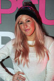 Ellie Goulding rocked a long-sleeved white t-shirt and hat.