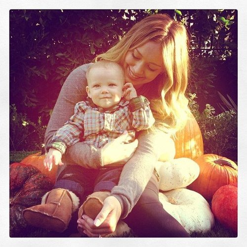 Hilary Duff spent time at the pumpkin patch with her little guy, Luca Comrie, in October.  Source: Instagram user hilaryduff