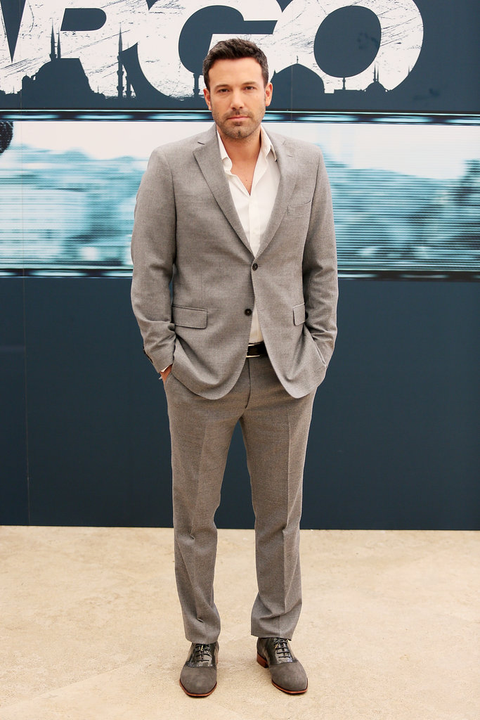 Ben Affleck wore a grey suit while out promoting Argo in Rome.