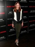 Olivia Palermo outfitted a smart evening style for an NYC film screening in a tuxedo jacket and metallic brogues.