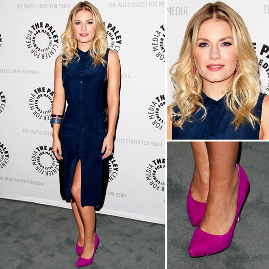 Elisha Cuthbert makes a case for navy and fuchsia.