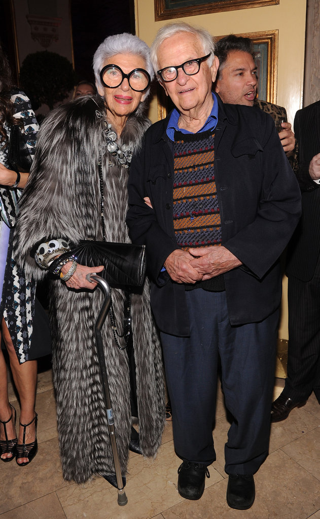 One of the most fashionable couples on the scene, Iris Apfel and her hubbie.