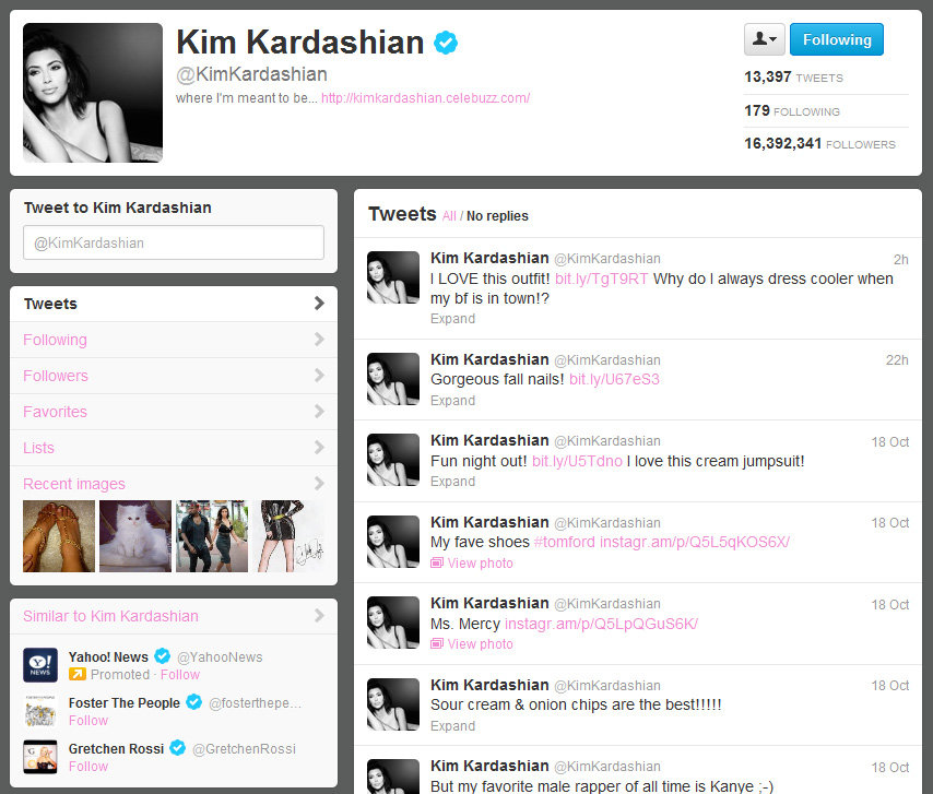 Kim Kardashian on Twitter