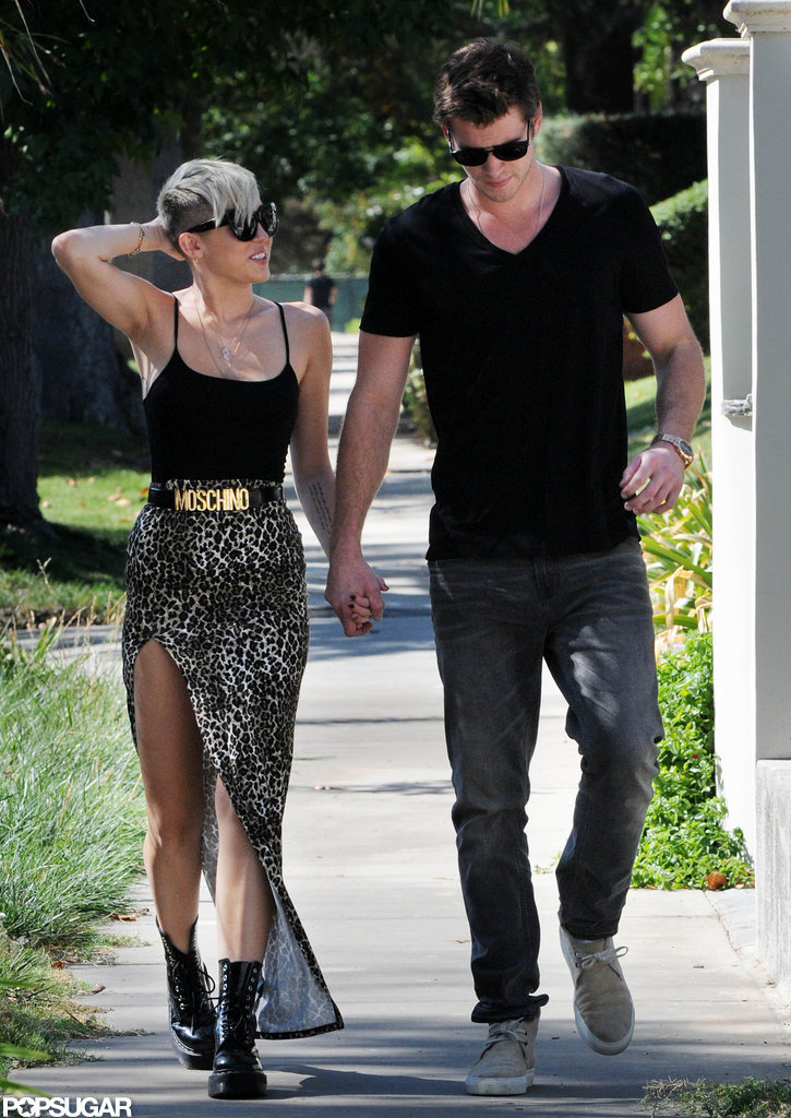 In October 2012, Miley Cyrus and Liam Hemsworth held hands for an LA stroll.