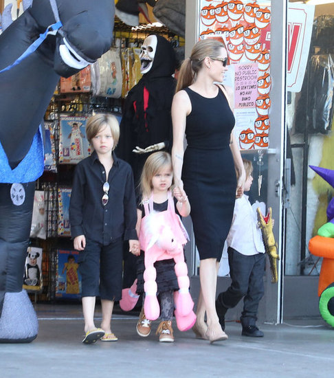 Angelina Jolie Shops For Costumes With Shiloh and the Twins