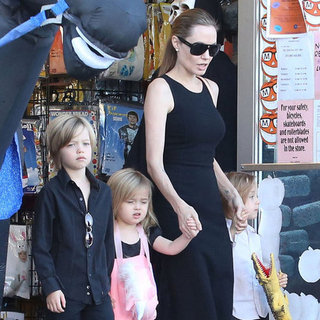 Angelina Jolie at a Halloween Store With Her Kids in LA