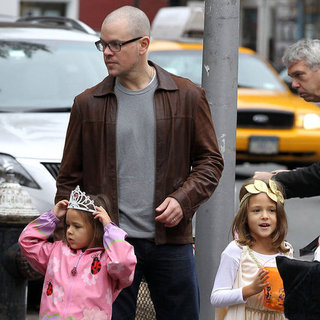 Matt Damon Trick-or-Treating With His Family in NYC