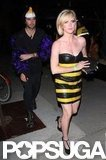 Brittany Snow wore a bumblebee costume for a party at Bootsy Bellows in LA Saturday.