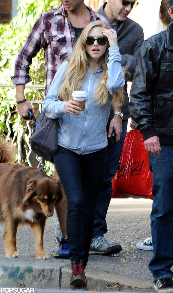 Amanda Seyfried carried her coffee as she walked in NYC.