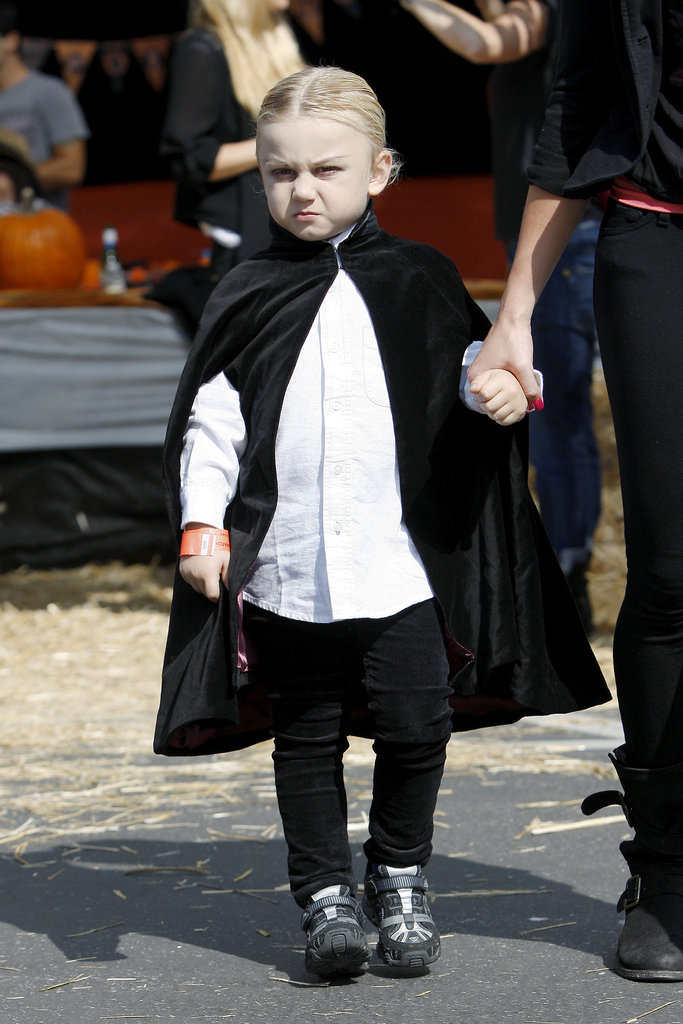 Zuma Rossdale wore a cape at Shawn's Pumpkin Patch.