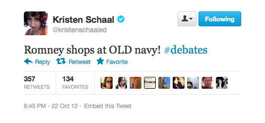 Kristen pokes fun at Romney and his navy comments.