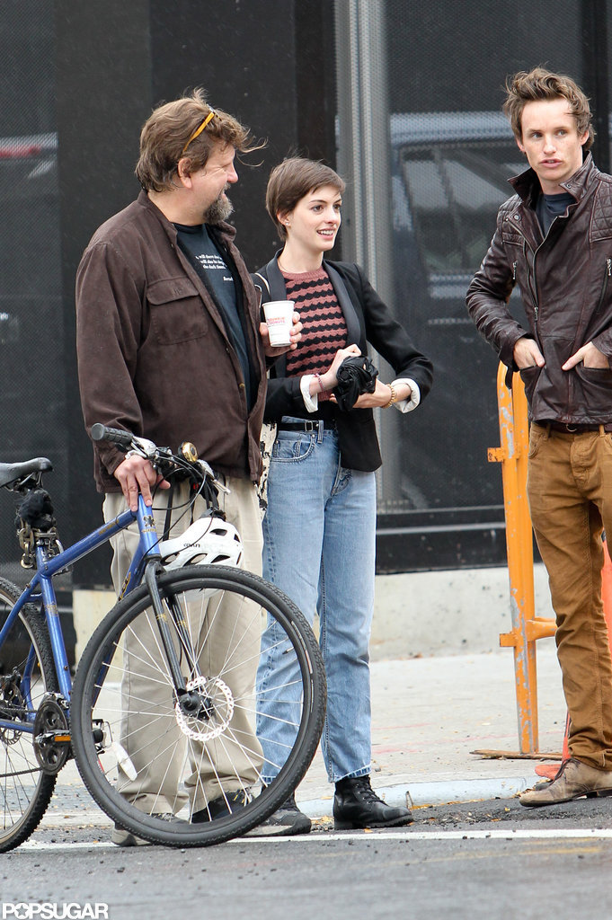Anne Hathaway and Eddie Redmayne were at a recording studio in NYC.
