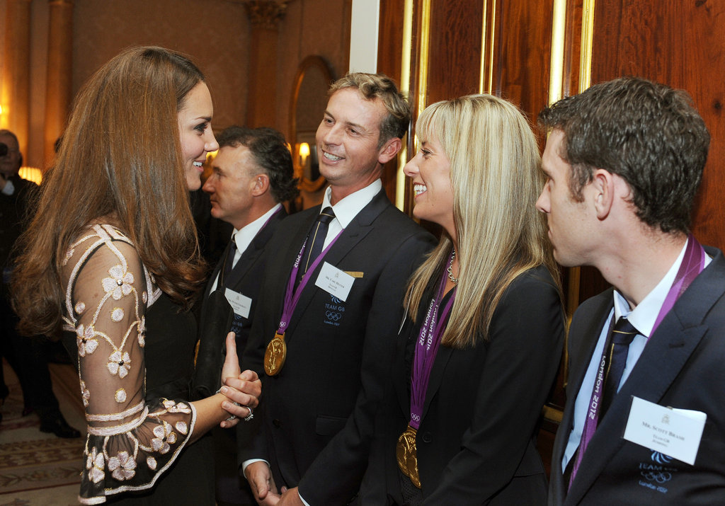 Kate Middleton greeted Team GB medalists in London.