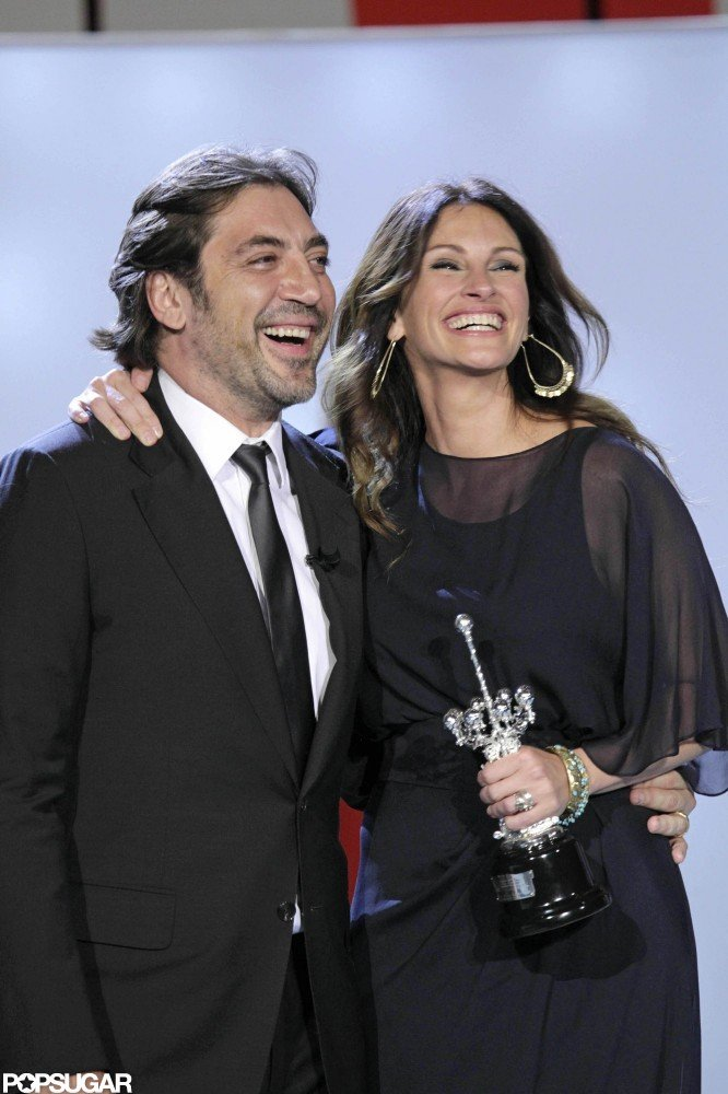 Julia Roberts and Javier Bardem shared a laugh in Spain while attending the San Sebastian Film Festival in 2010.