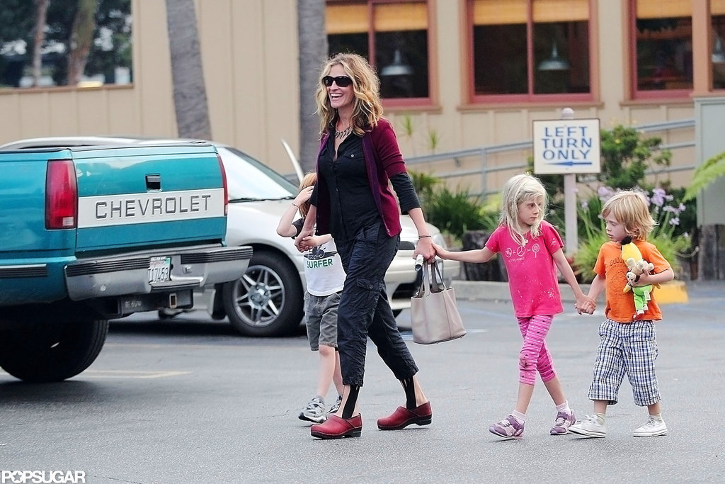 Julia Roberts led her kids Henry, Hazel, and Phinneaus on their way to breakfast in Malibu in September 2011.