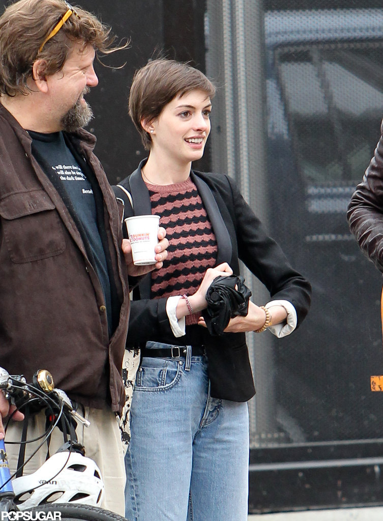 Anne Hathaway left a recording studio in NYC.