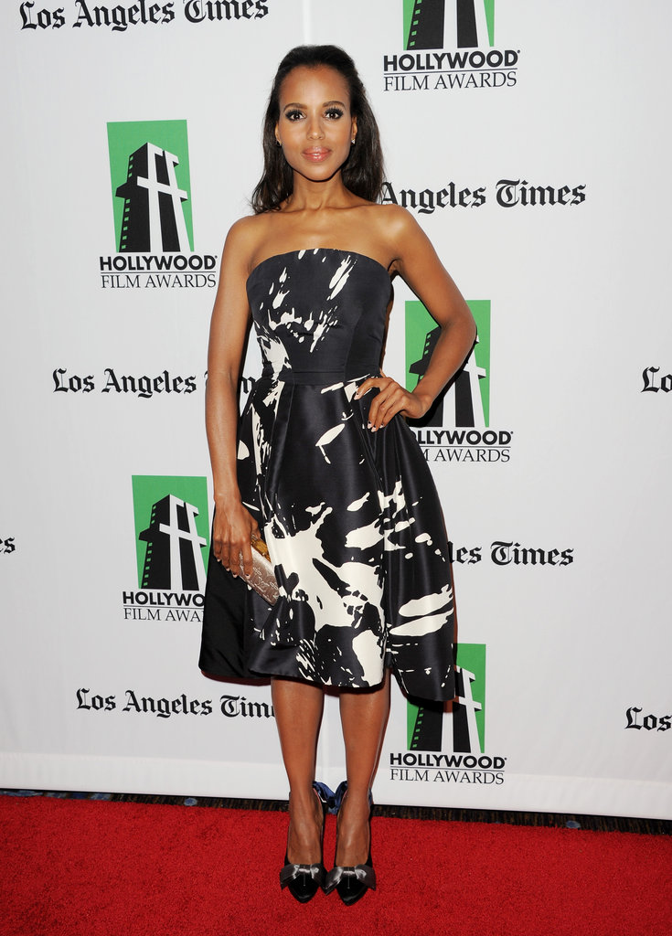 As for your event-worthy looks, Kerry Washington makes quite a case for the prettiest kind of party dresses in an all-over black and white print Monique Lhuillier Spring 2012 cocktail dress.