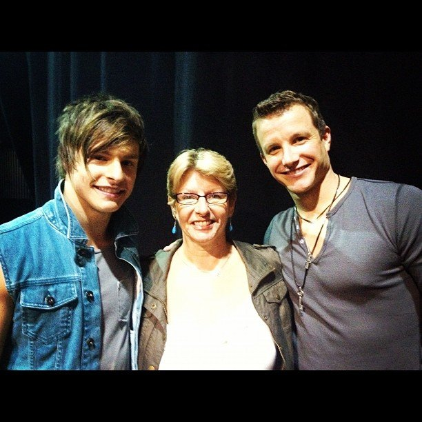 Trent Bell took a photo with his mum and host Luke Jacobz. Source: Instagram user trentbell90