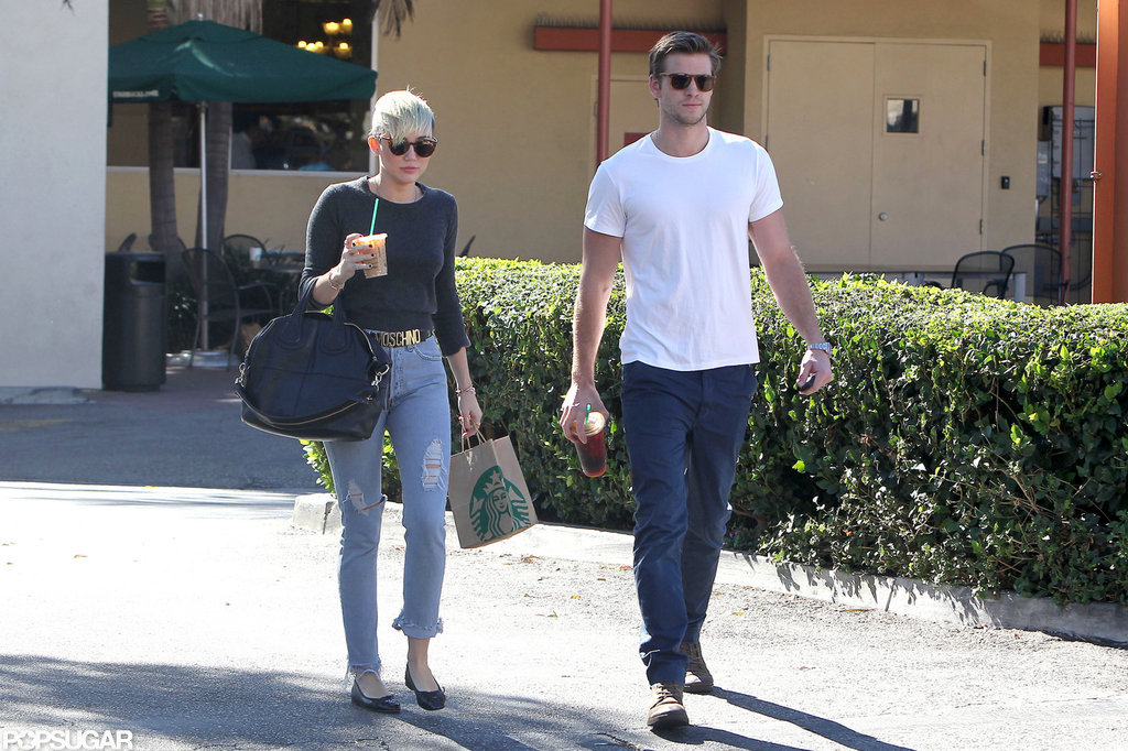 Miley Cyrus and Liam Hemsworth stopped for coffee together at an LA Starbucks.