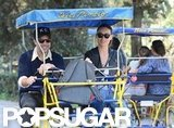 Olivia Wilde and Jason Sudeikis hopped on a rickshaw bike.