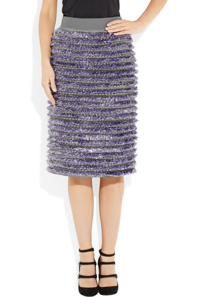 Marc Jacobs's Tinsel-Striped Boucle Skirt ($865) was practically made to be worn at a holiday party — pair it with a simple black tank and heels.